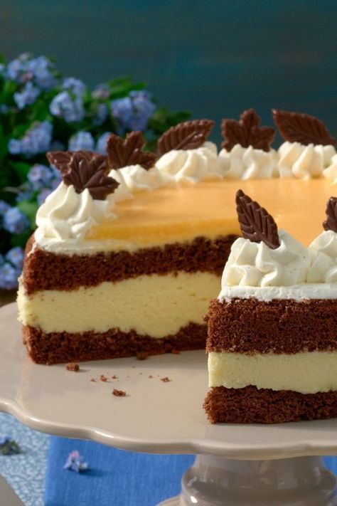 Photo of Delicious chocolate egg liqueur cake with cream