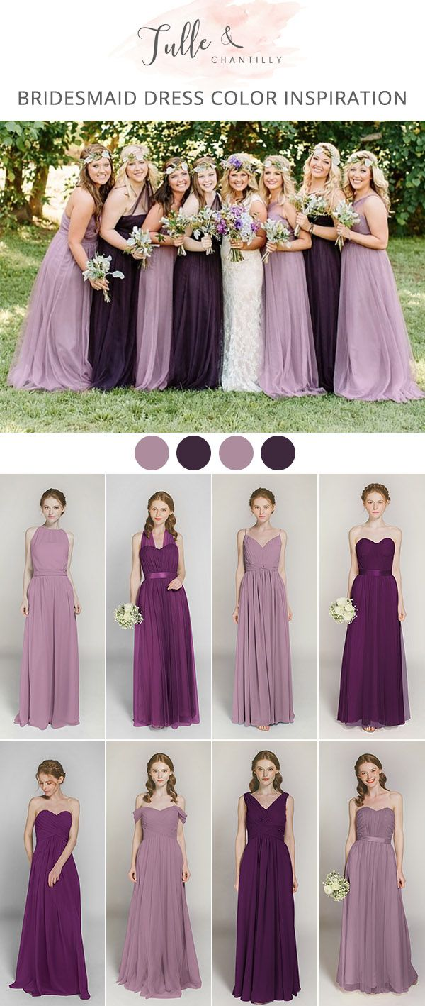 Shades Of Purple Mix And Match Bridesmaid Dresses