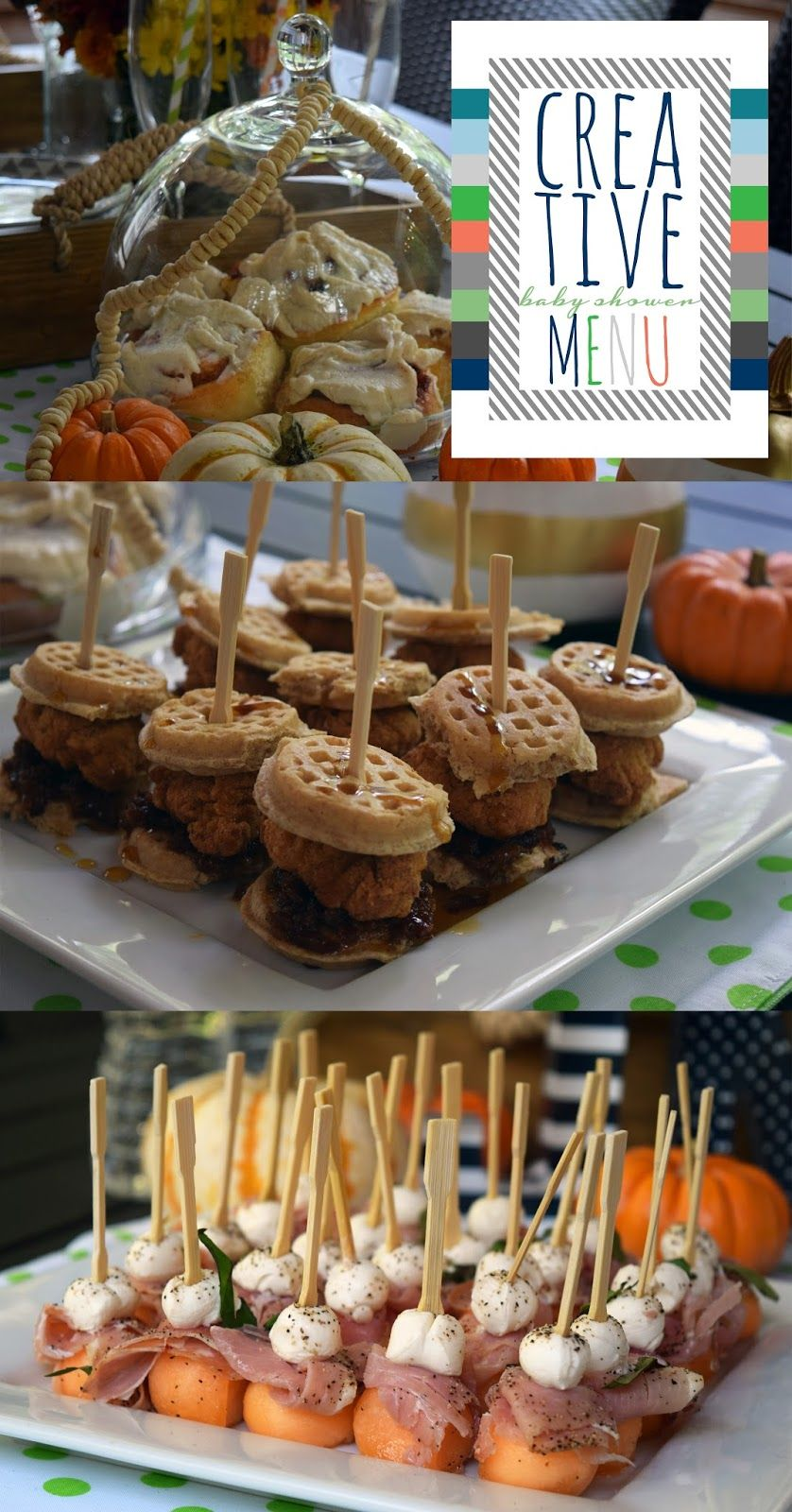 A Fall Bubbly Baby Shower Brunch, Party Box Design, Baby Shower Menu,  Chicken