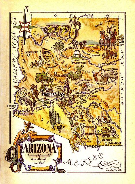 Arizona Map Arizona Map Arizona State Map Map Art