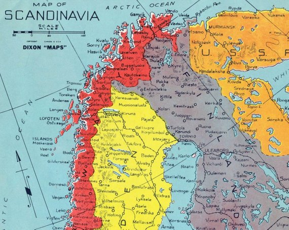1940s Vintage Map Of Scandinavia During World War Ii Colourful Map