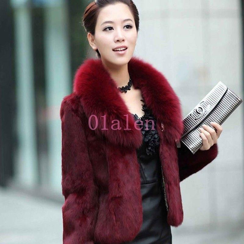 5911c95fce32b Hot Short Coat Womens Chic Furry Faux Rabbit Fur 2018 Slim Fit Tops Jackets  Warm