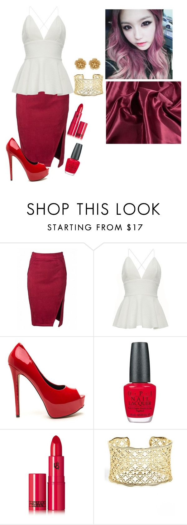 """Purrfecta Cover Lee Hani ""Fire"" ~ Lauren"" by purrfectas ❤ liked on Polyvore featuring OPI, Lipstick Queen, Kendra Scott and Miriam Haskell"