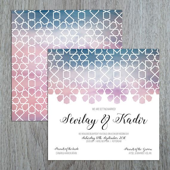 Sample of geometric design patterns we can offer as a variety of items similar to oriental watercolour wedding invitation geometric design watercolor islamic geometric on etsy stopboris Image collections