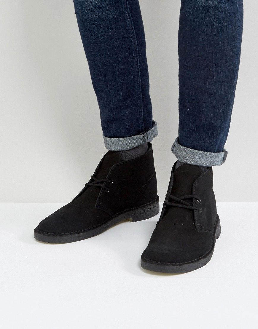 5ad1e985451 Clarks Suede Desert Boots In Black | Boots | Desert boots, Clarks ...