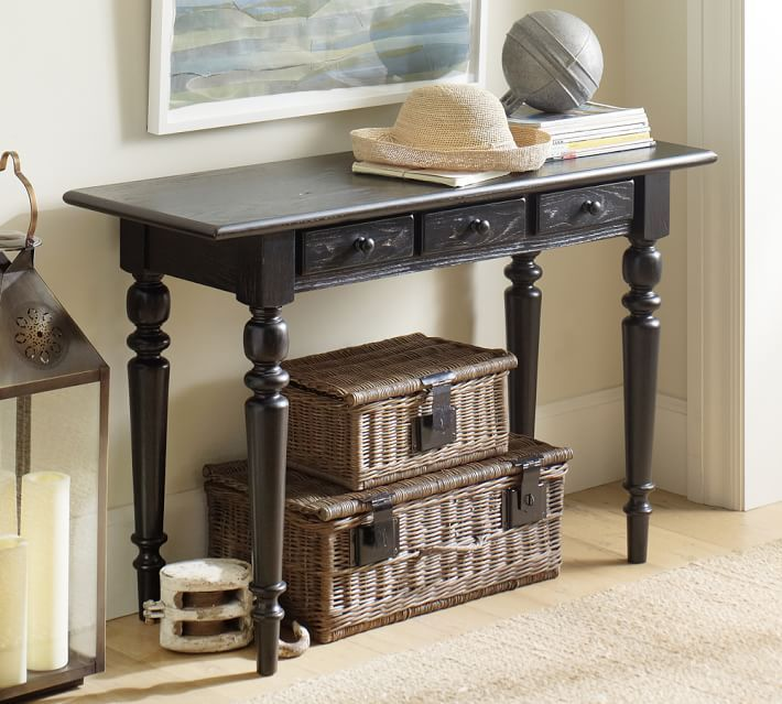 Elegant Pottery Barn Tivoli Small Console Table With The 2 Baskets Underneath
