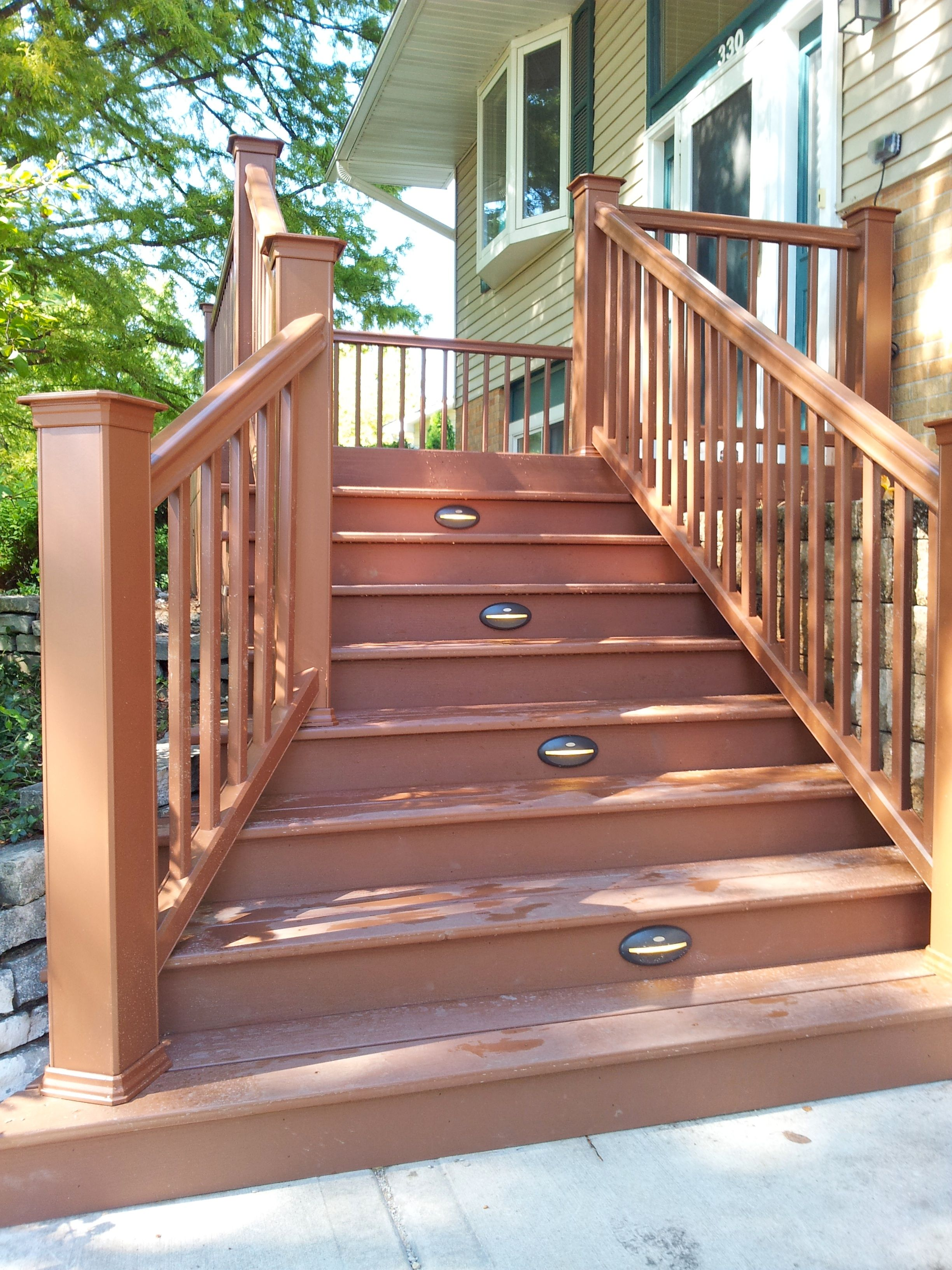 Timbertech Stairs Created By Backyard Images Mountain Cedar Color With Riser Lights Backyard Deck Stairs Cedar Deck