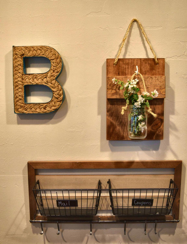 Hanging Mason Jar Wall Decor, Mason Jar Sconce, Rustic Wall Decor ...