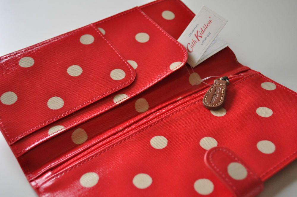 CATH KIDSTON TRAVEL WALLET OIL CLOTH PURSE SPOT RED PASSPORT ...