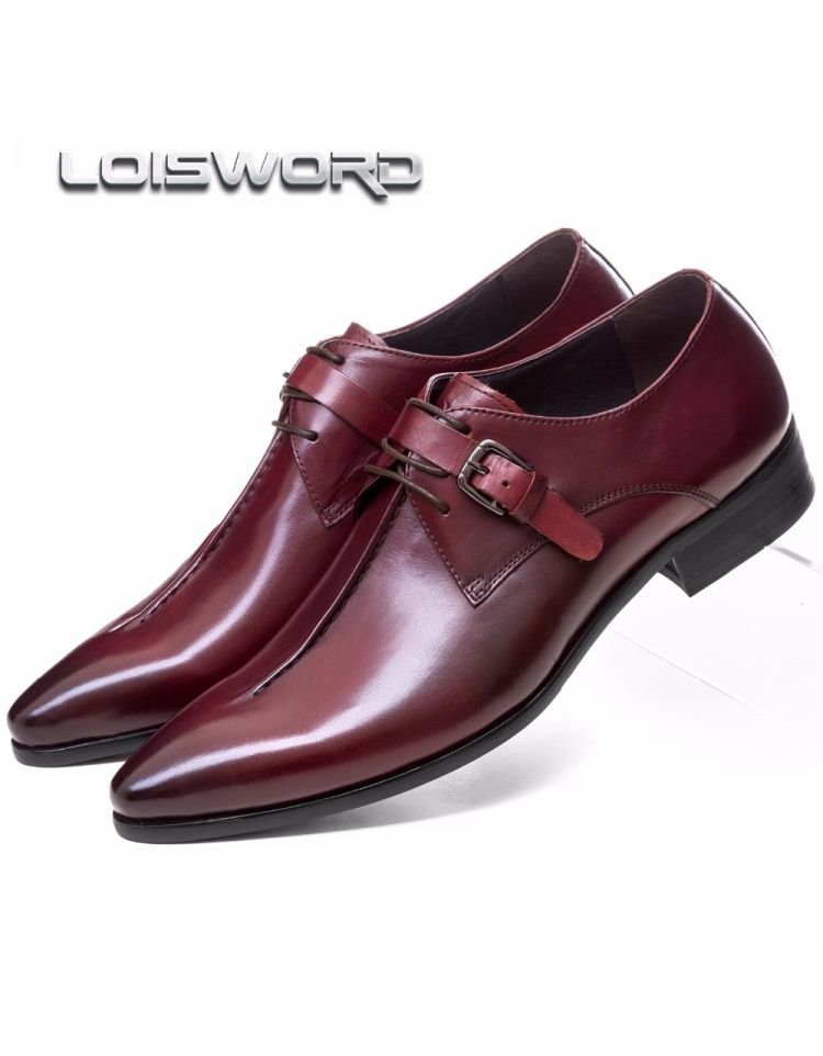 bf64188035 LOISWORD Deep coffee color Dark yellow black mens business dress shoes  genuine leather pointed toe