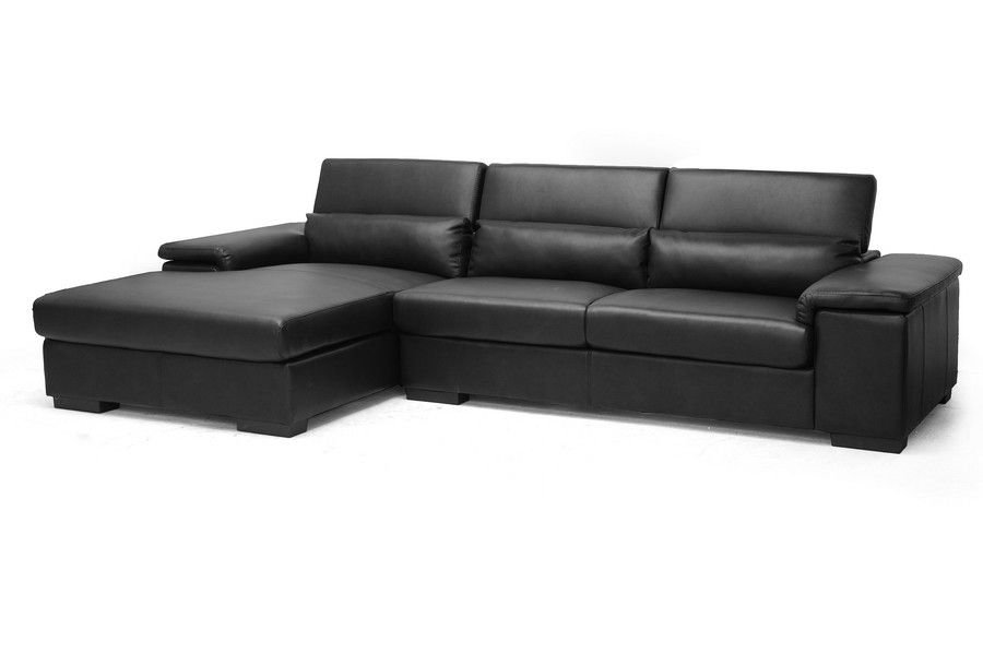 Dolan Black Leather Modern Sectional Sofa With Left Facing Chaise Modern Sofa Sectional Modern Leather Sectional Leather Sectional Sofas