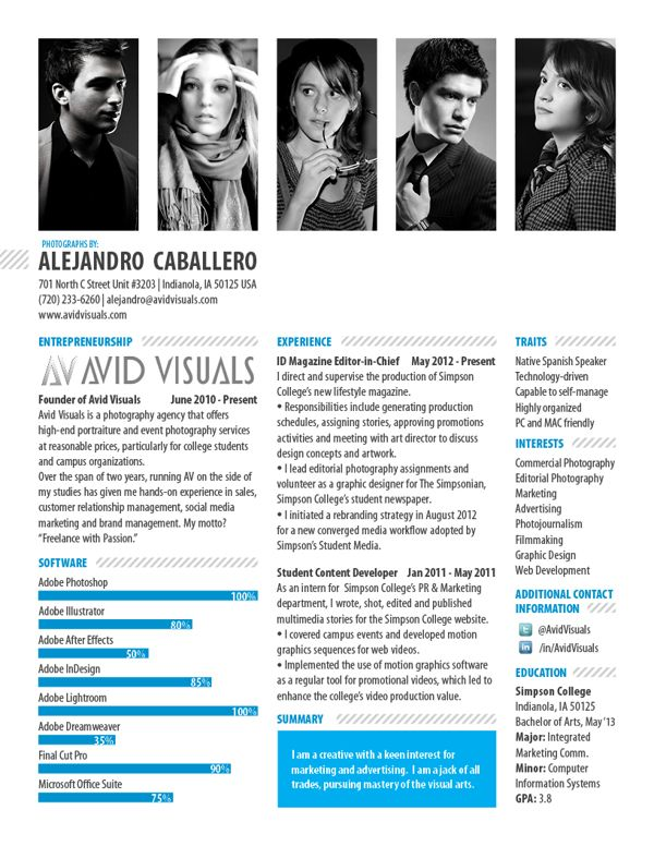 Photographer CV, via Behance FD   G - Artist -- CV Pinterest - sample resume for photographer