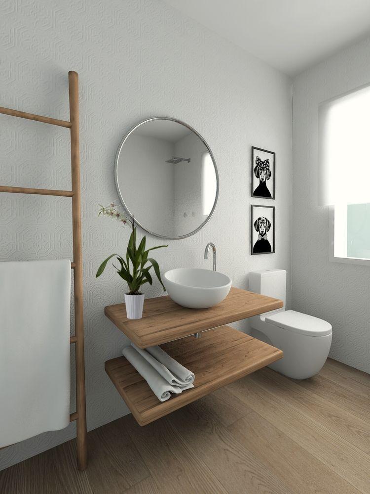 Cuarto de baño acogedor con revestimieno que recuerda a los clásicos ...