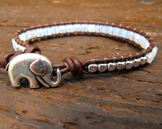 Hand Beaded Leather Wrap Bracelet with Elephant Button, and Milky Opal Faceted Beads, single wrap on Etsy, $24.00