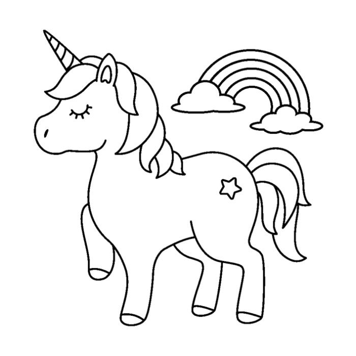52 Cute Cartoon Unicorn Coloring Pages
