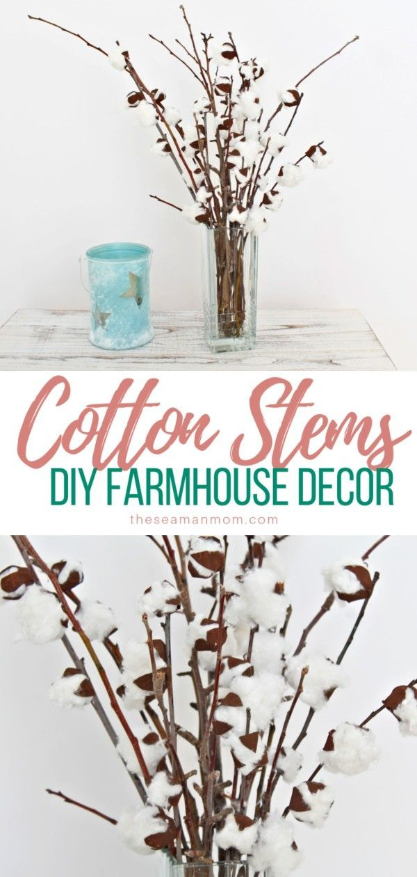 Are you on the lookout for beautiful farmhouse decorating ideas that you can whip up in just minutes? You can easily create a fabulous DIY farmhouse decor with these adorable cotton branches!  #easypeasycreativeideas #homedecor #decoratingideas #cotton #cottonboll #homedecorideas #diyhomedecor #diycrafts
