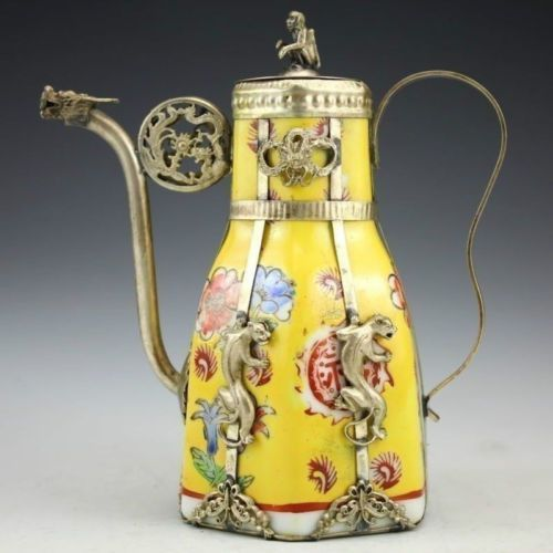 Antique Collectible Tibetan Silver /& Porcelain Inlaid Handmade Teapot Yellow