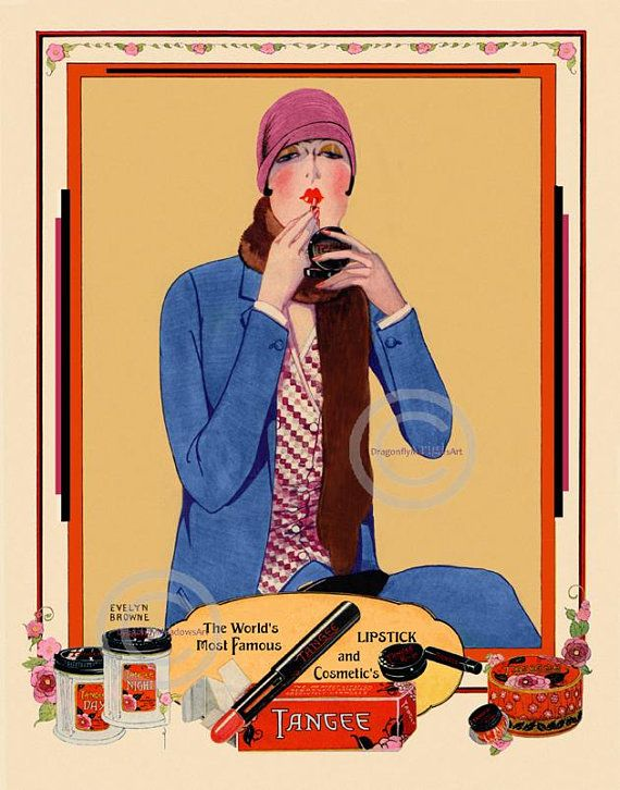 Art Deco flapper putting on red lipstick, Tangee Cosmetics makeup, fashion print 1920s, wearing cloche hat,  Giclee Fine Art Print,  11x14