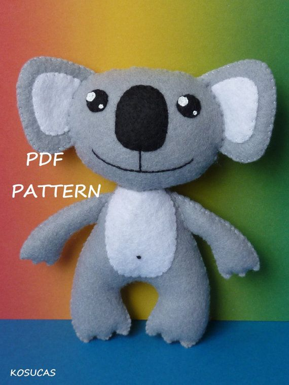 PDF sewing pattern to make a felt koala bear and a panda bear