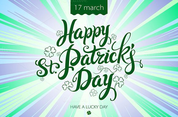 happy patrick day vintage lettering by Rommeo79 on Creative Market