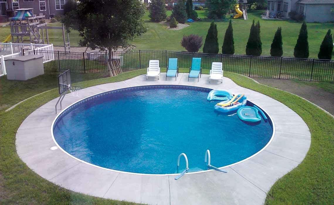 Modern Round Inground Pool Designs With Landscape For