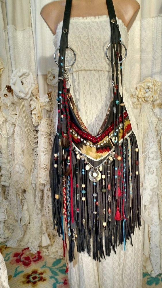 172d805a4f Handmade GRAY Leather Cross Body Bag Beads Fringe Boho HoboTribal Purse  tmyers  Handmade  MessengerCrossBody