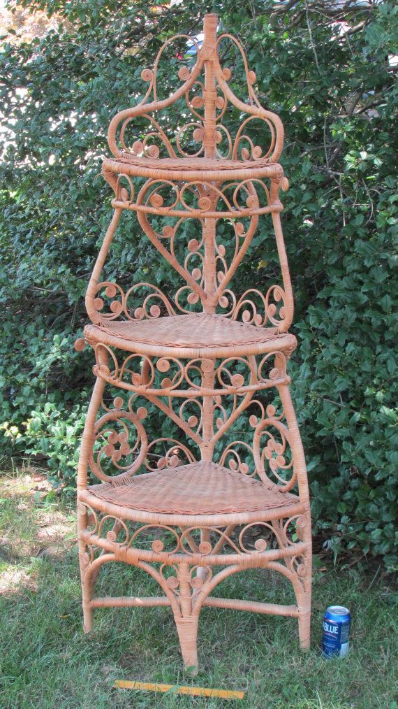 Antique Vintage Natural Wicker Rattan Victorian Corner