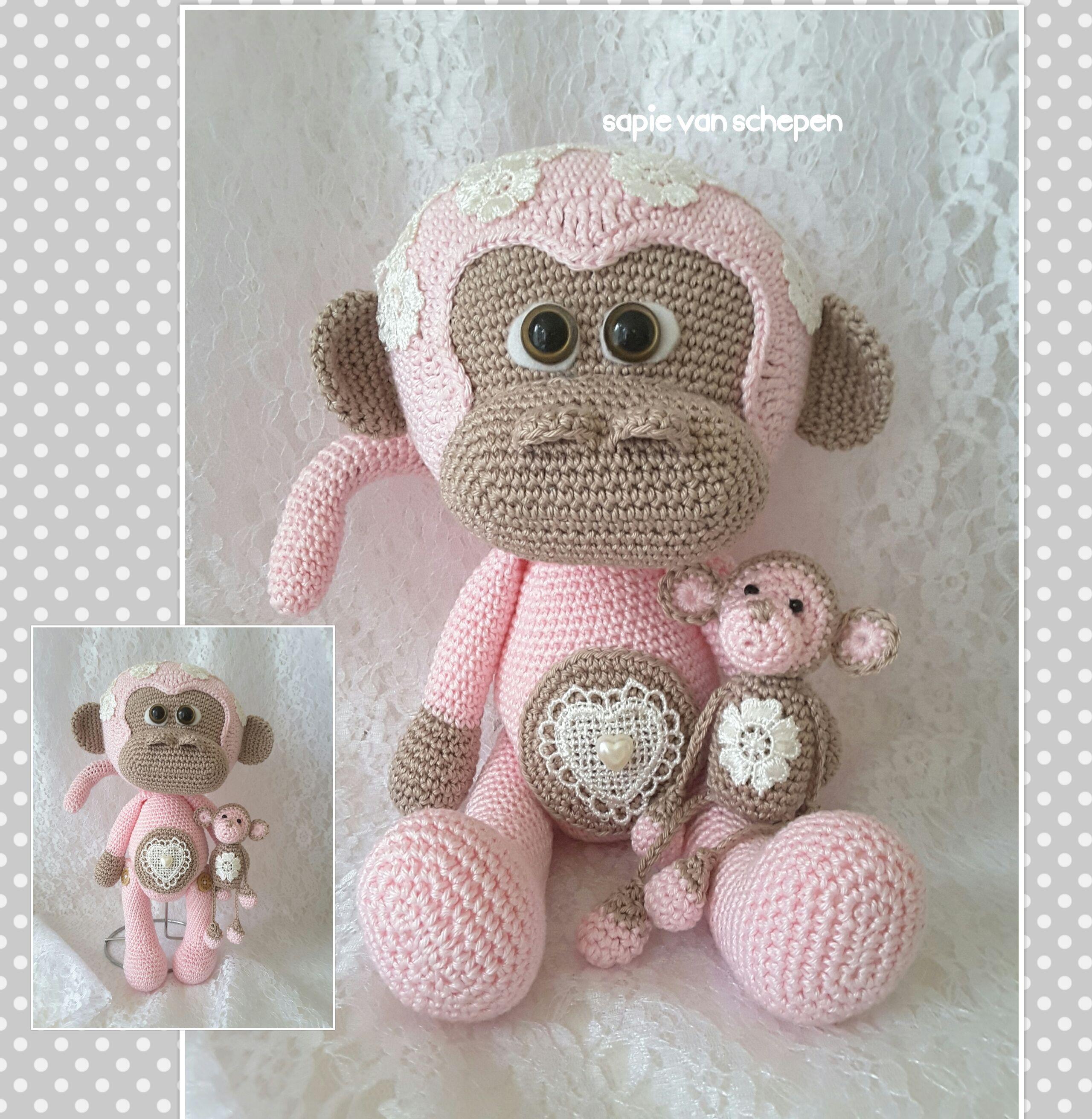 cute (pink) monkey , patroon van https://www.etsy.com/nl/listing ...