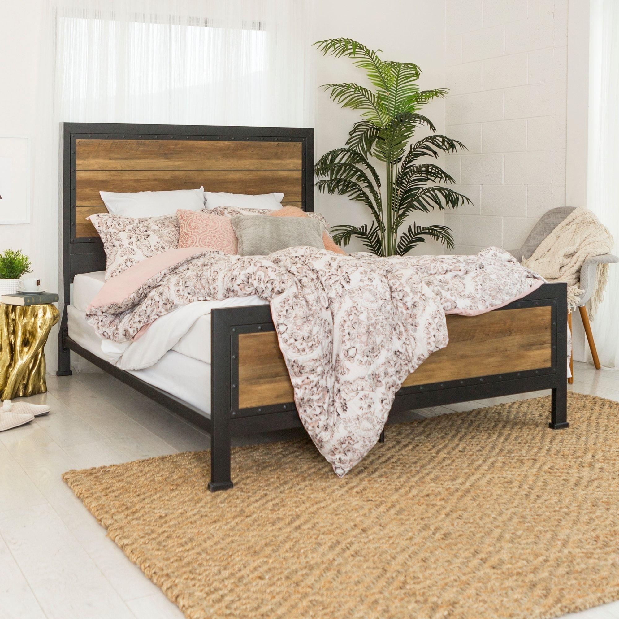 Carbon (Black) Loft Santos Industrial Wood And Metal Queen Bed