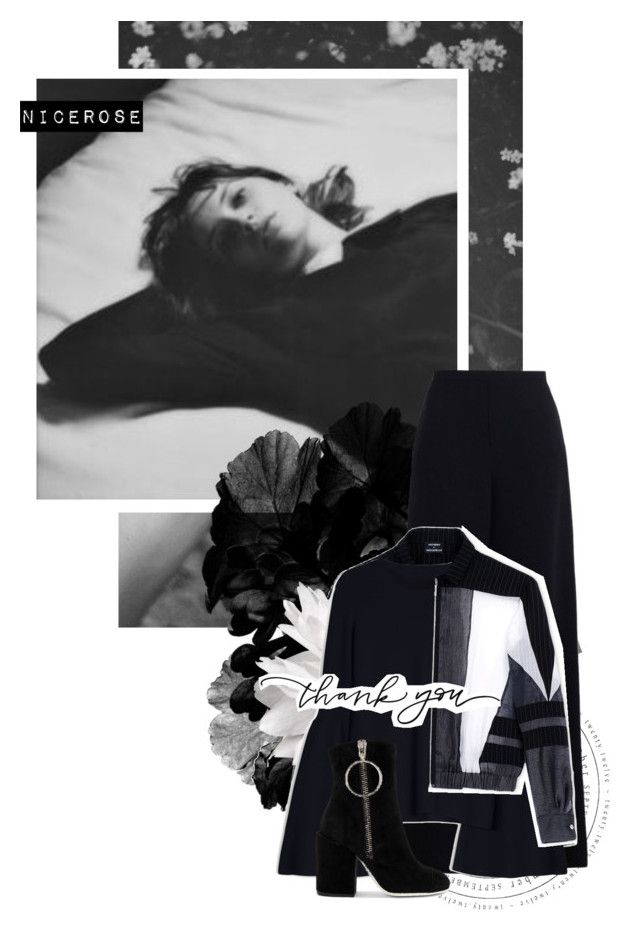 """December nights"" by nicerose ❤ liked on Polyvore featuring Zimmermann, Anthony Vaccarello, The Row, Off-White, Winter, Flowers, blackandwhite and grey"
