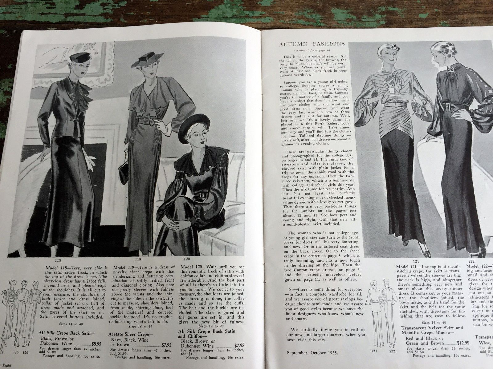 Antique 1935 Berth Robert Fall Fashion Pattern Booklet for Semi Made Dresses | eBay