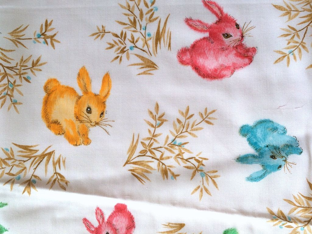 Vintage 80s Cute Animal Fabric Easter Bunny Strawberry Fruit Off ... : quilt weight cotton - Adamdwight.com