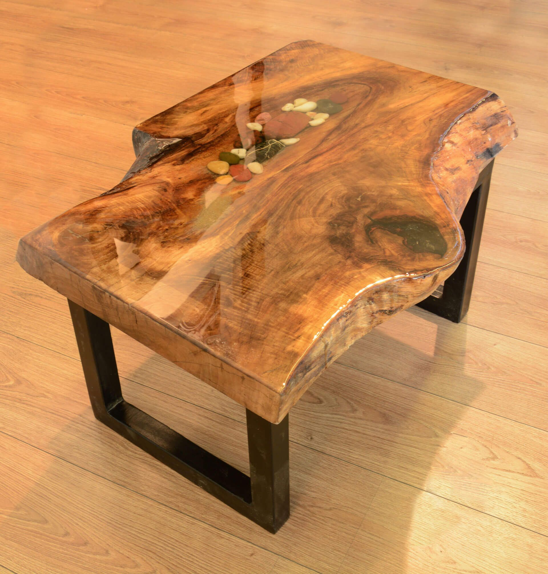 Walnut wood resin river rock coffee table