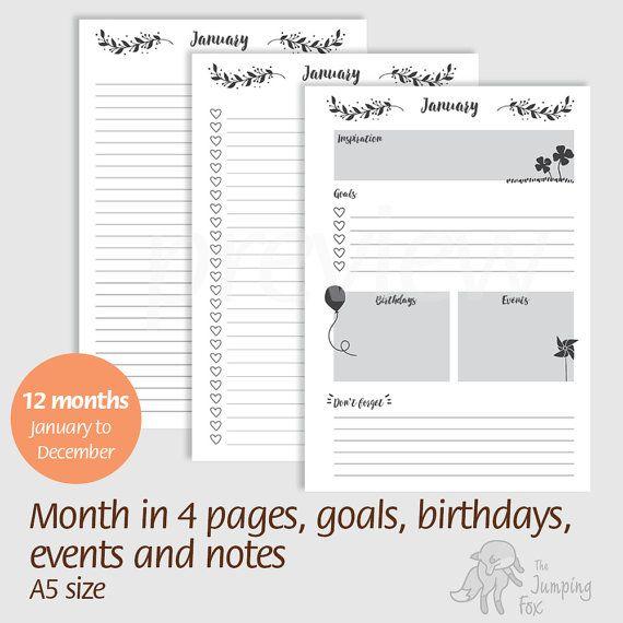 Printable Planner Insert - A5 size, ring disc planner, traveleru0027s - monthly list samples