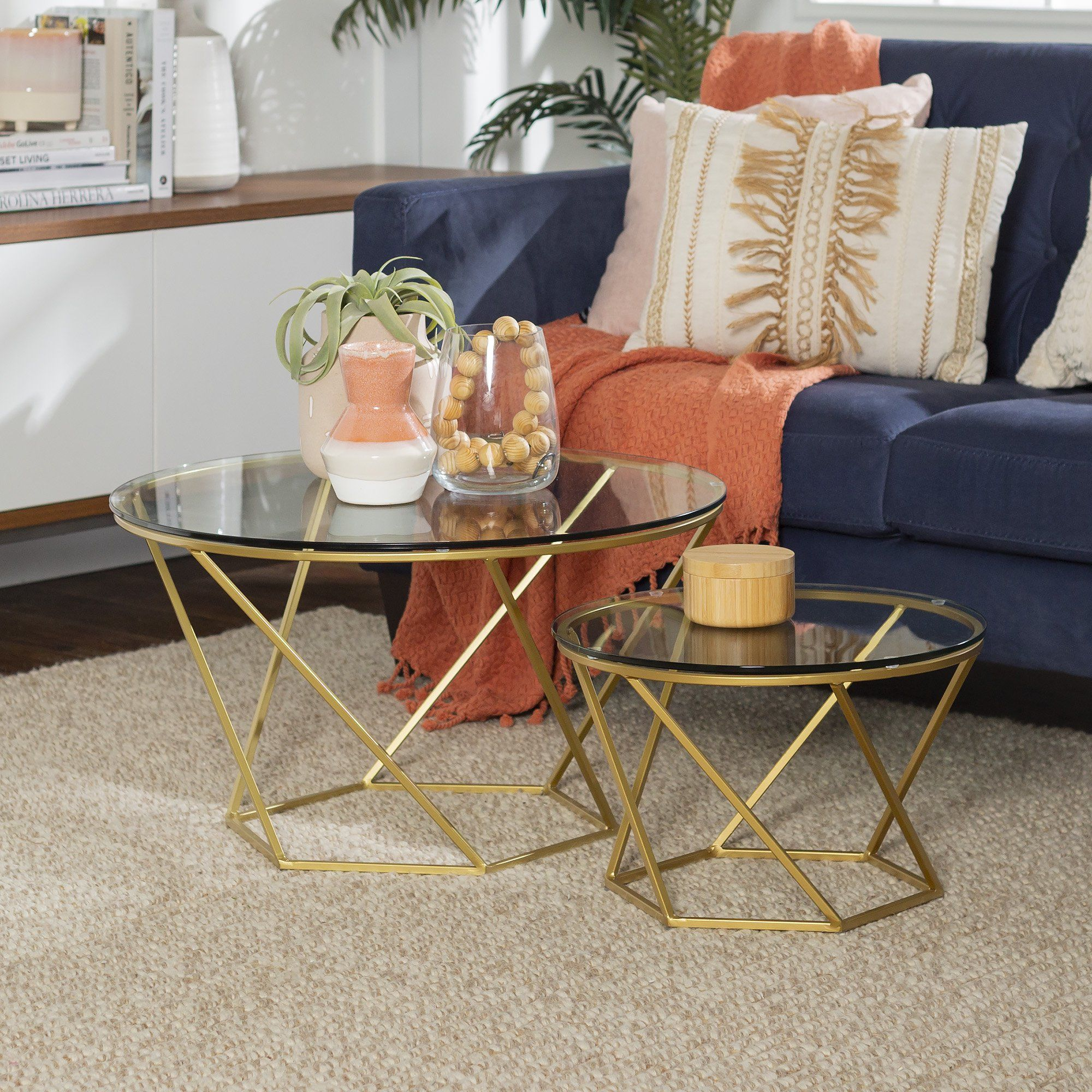 Eloise Geometric Glass And Gold Nesting End Tables By Ember Interiors Walmart Com Nesting End Tables Glass Coffee Tables Living Room Living Room Coffee Table [ 2000 x 2000 Pixel ]