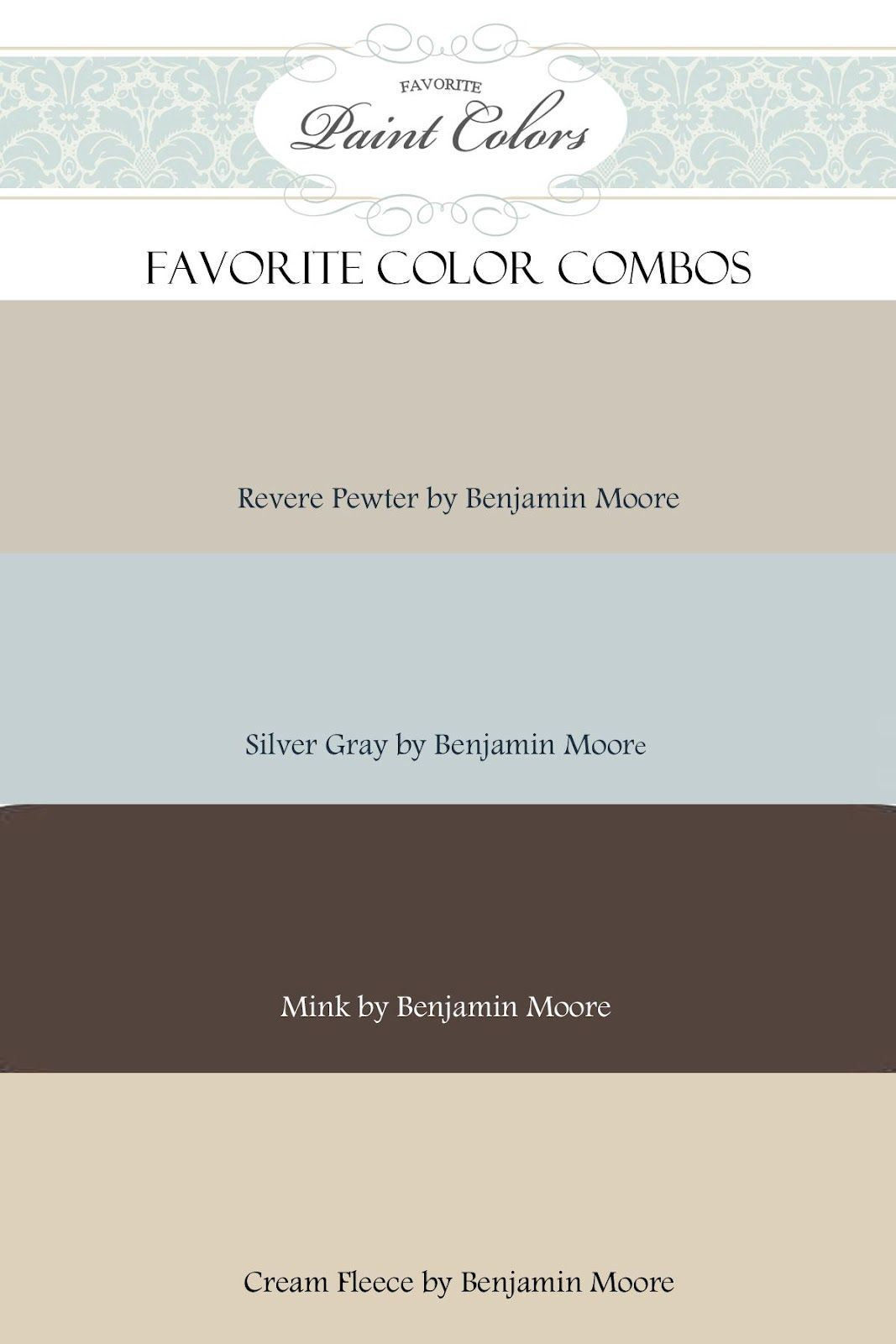 Color Combinations For Revere Pewter By Benjamin Moore Color - Benjamin moore blue paint color chart