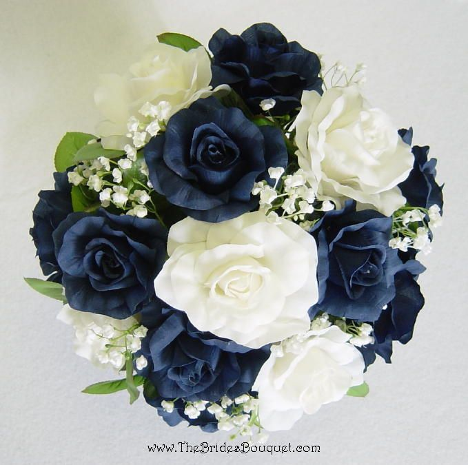 Navy Blue And Ivory Silk Rose Nose Bridal Wedding Bouquet