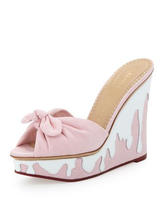 Jayne Sundae Suede Wedge, Pink/White by Charlotte Olympia at Neiman Marcus.