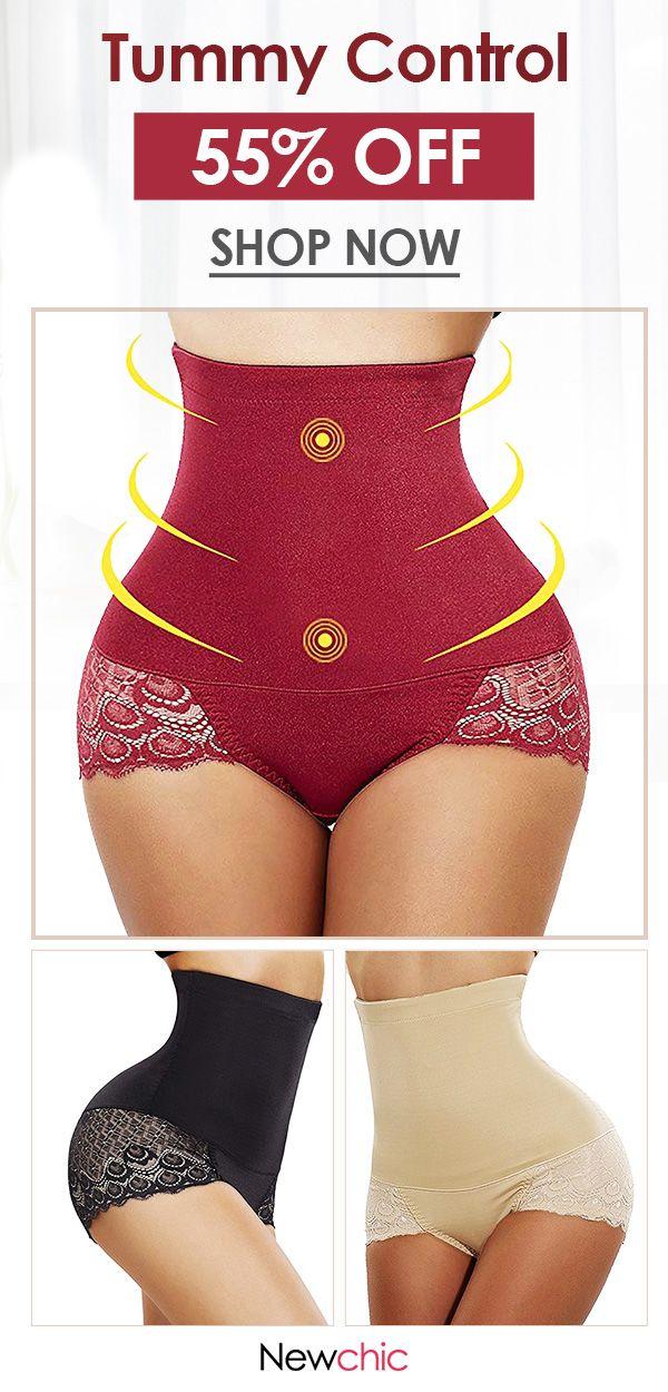 e95f9eb9c6c2 【ONLY US$ 15.59】High Waist Lace-trim Tummy Control Hip Lifting Shapewear  Panties #shapewear #underwear #slim #lace
