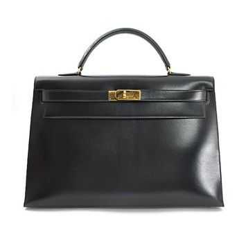 Hermes Box Calf Kelly 40cm With Strap Black Tote Bag $7,999