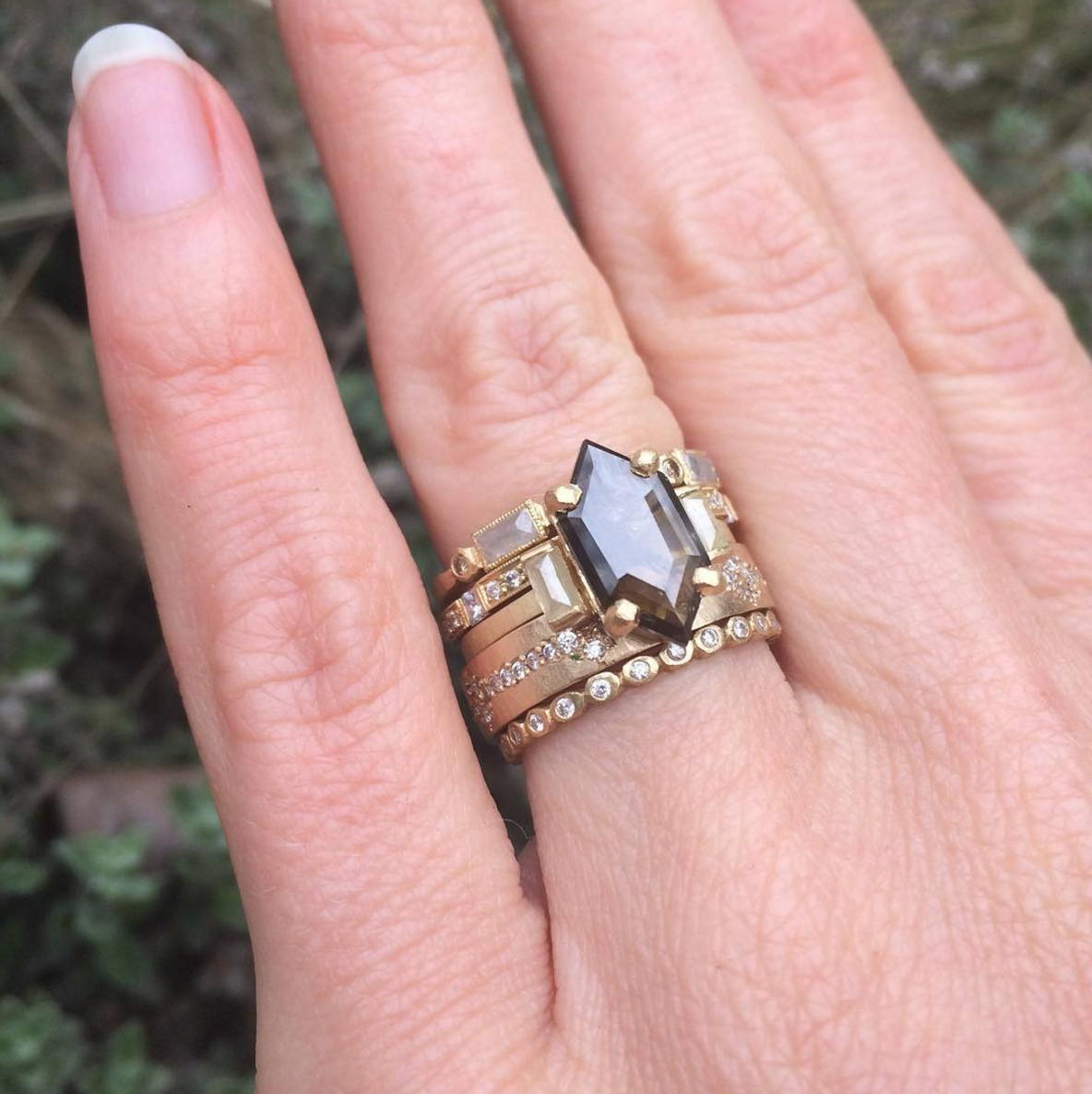 Stack inspiration: elongated hexagonal deep cognac diamond with, yes ...