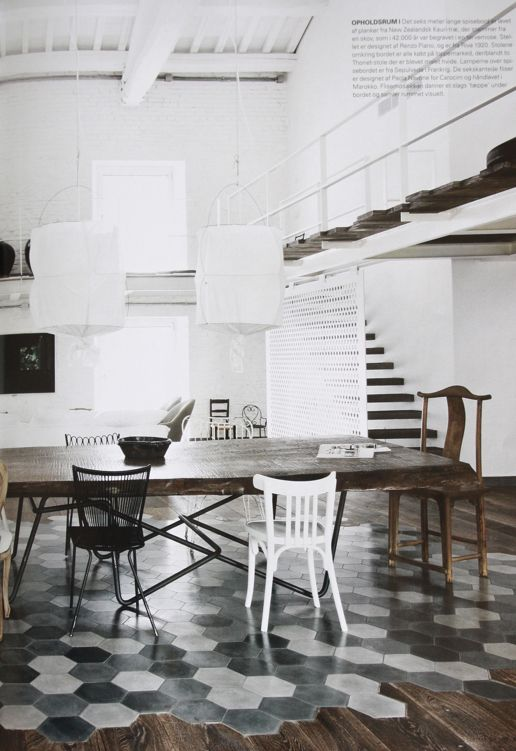 tomettes noires grises blanches et parquet pour sol cuisine | deco