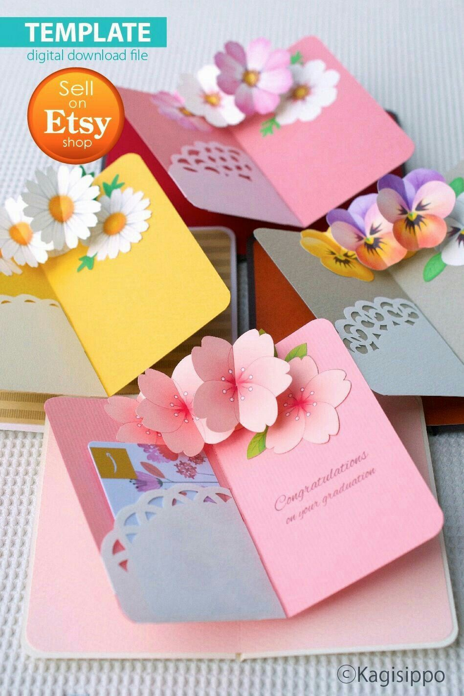 Pin By Maddy Ramos On اشياء يدويه Birthday Card Pop Up Pop Up Flowers Gift Card Template