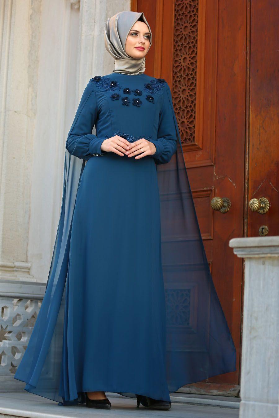 8f90022037cce Neva Style - Üç Boyut Çiçekli Petrol Mavisi Tesettür Abiye Elbise 25655PM  #tesetturisland #tesettur