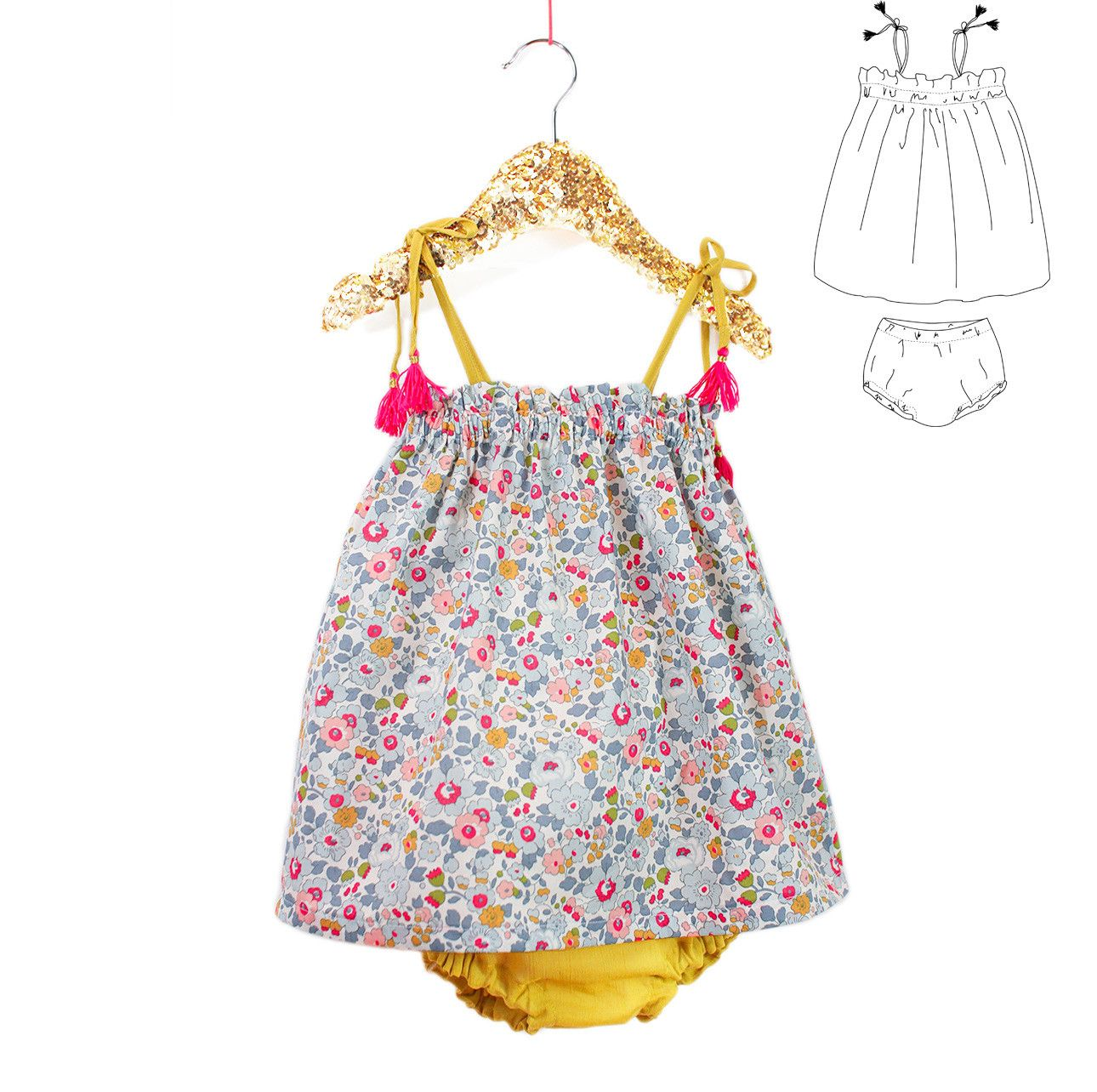 Robe et bloomer portofino pdf 6m 4a bloomer b b for Malette couture pour fille