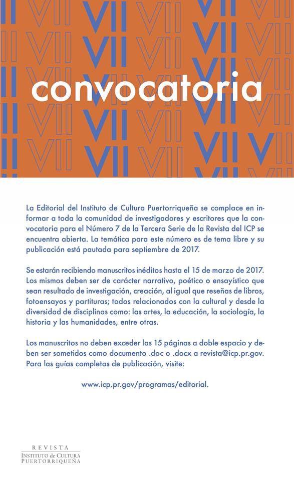 Convocatoria para el Número 7 de la Tercera Serie de la Revista del ICP.