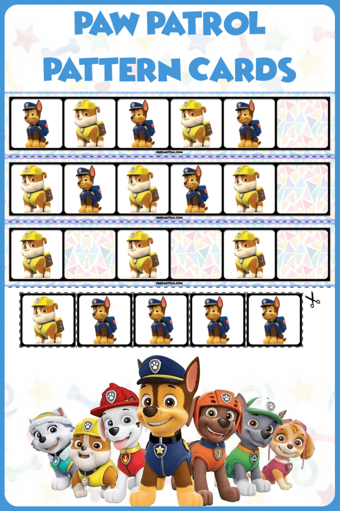 Free Paw Patrol Printable Materials Preschool Activities Preschool Learning Activities Ab Patterns