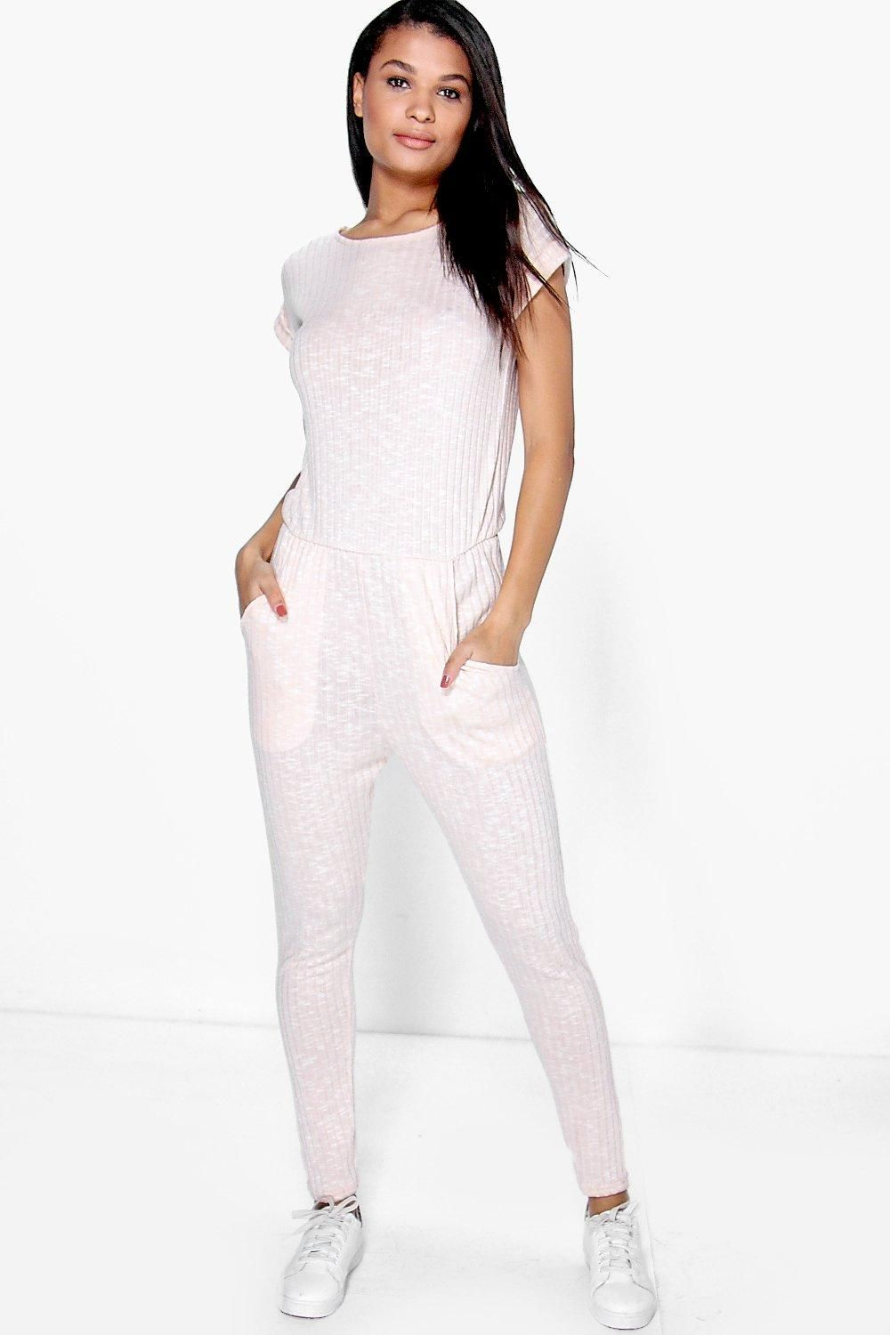 f955d2339e088e Amy Ribbed Capped Sleeve Casual Jumpsuit