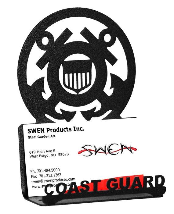 Armed Services Us Coast Guard Uscg Black Metal Business Card Holder