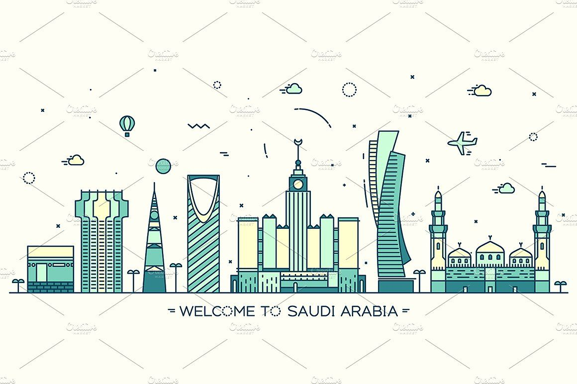 Skyline Of Saudi Arabia Trendy Linear Vector Illustration National Day Saudi Illustration Art